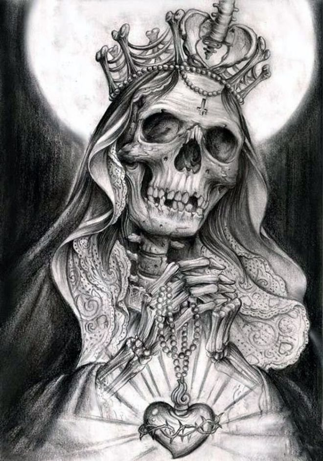 pencil drawing of Santisima Muerte Most Holy Death
